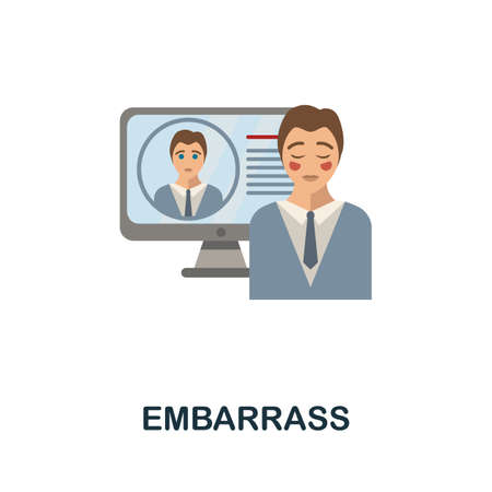 Embarrass flat icon. Colored sign from cyberbullying collection. Creative Embarrass icon illustration for web design, infographics and more Vecteurs