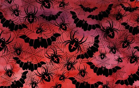 Halloween red watercolor background with black silhouettes of bats and spiders. Happy Halloween! Imagens