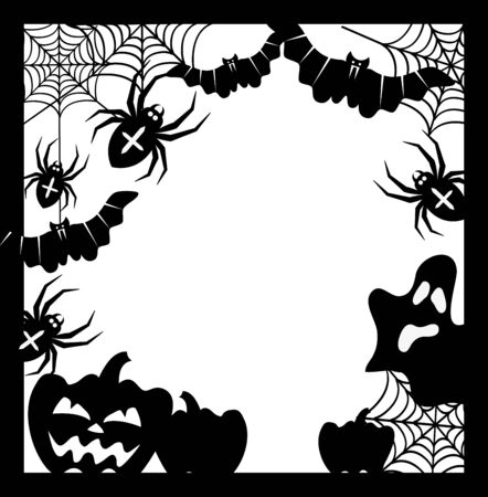 Halloween frame with pumpkins, bats and spiders, vector illustration.