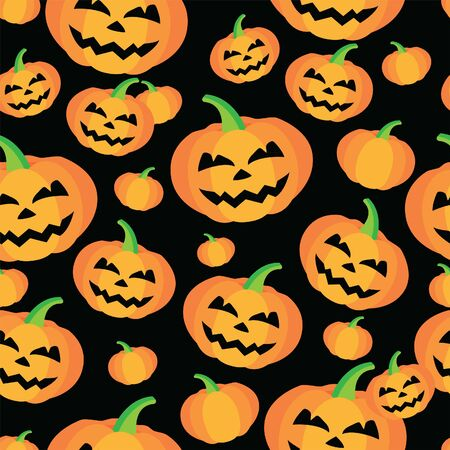 Halloween vector seamless pattern with pumpkins. 일러스트