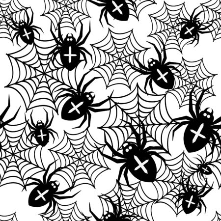 Seamless pattern with spider. Halloween vector illustration. Black and white.