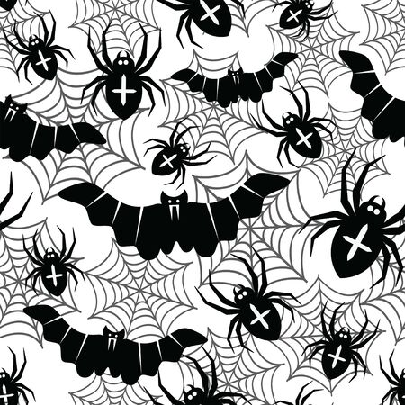 Seamless pattern with bats and spiders. Halloween vector illustration. Black and white. Ilustração