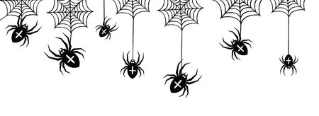 Vector isolated pattern with hanging spiders for decoration and covering on the transparent background. Creepy background for Halloween.