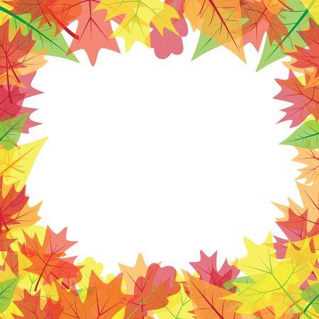 Cornice di foglie autunnali colorate. Isolato su sfondo bianco. Illustrazione di vettore.