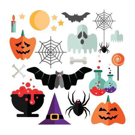 Halloween icons set on a white background. Vector illustration