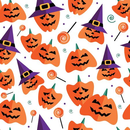 Halloween seamless pattern with flat icons on a white background. Vector illustration