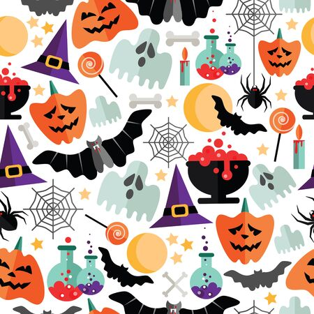 Halloween seamless pattern with flat icons on a white background. Vector illustration. 向量圖像
