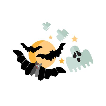 Halloween vector illustration with moon, fly ghosts and fly bats.