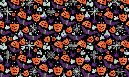Halloween background with flat icons on a black background. Flat style.