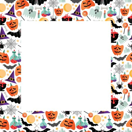Halloween frame with flat icons on a white background. Vector illustration. Halloween postcard.