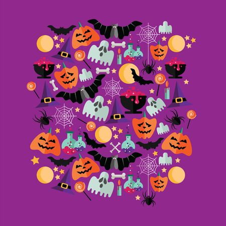 Cute vector set with Halloween illustrations. Vector flat icons on a purple background.