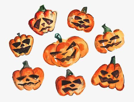 Watercolor set of pumpkins for Halloween on a white background