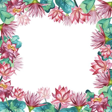Frame with Lotus flowers and leaves on white background. Watercolor illustration.