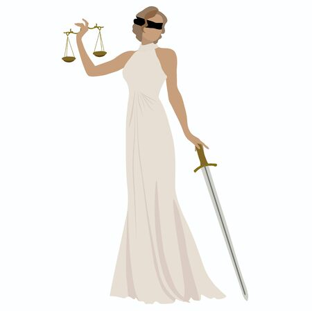 Vector stock illustration of the statue of Themis legal. Greek goddess of justice. Judicial logo for lawyer and Prosecutor. Scale and a sword in her hands and blindfold over her eyes. Logo