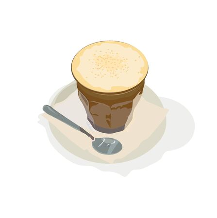 Vector stock illustration of a caramel latte. A Cup of fragrant coffee. Foam of whipped cream with a soft milky taste. Hot drink in the morning. Isolated on a white background. Coffee shop menu.