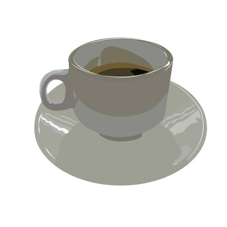 Vector illustration of a Cup of strong coffee. A small Cup of black espresso. Hot drink on the Eastern fried in grains.