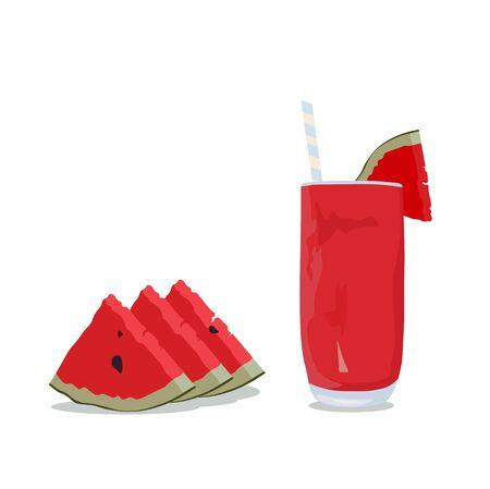 Vector stock illustration of watermelon drink. Refreshing lemonade in a glass. Çizim