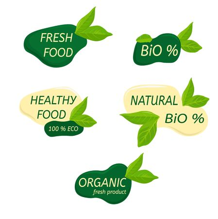 Organic healthy food labels and vegan products badge, nature farmed food tags. Vector design elements image gluten free and bio stickers or green tag natures quality isolated on a white back