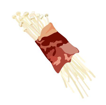 Vector stock illustration of natural raw white mushrooms Enoki with hats on legs. For cooking tempura, chikuwa, tempura udon noodles. Asian cuisine, Korean Chinese Japanese Golden needle mushroom