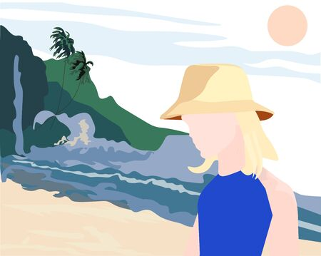 Vector stock illustration of a girl on the beach. Sunny holiday on the beach. Sandy tropical beach. A woman in a straw hat in the hot sun. Summer vacation on the island. Banner of the travel agency.