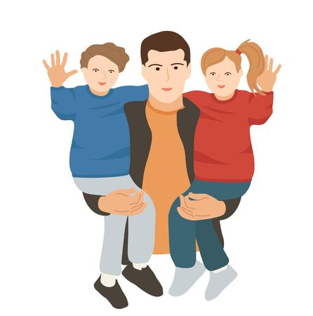 Vector illustration of a father with children. Happy boy and girl waving their hands. Son and daughter hug their dad. Happy family. Greeting card for father's day. Family tradition. People in flat  イラスト・ベクター素材
