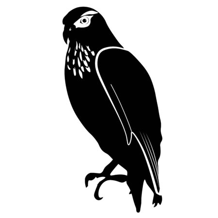 Vector stock illustration of an eagle. Monochrome black silhouette of a hawk. Bird close-up sitting. Isolated on a white background.