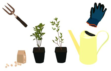 Vector stock illustration of a gardening set. Watering can, garden tools, rakes, gloves, pots with sprouts. The planting of young shoots. Saplings of tree plants. Hobby. Crop production, botany, farm.  イラスト・ベクター素材