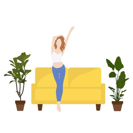 Vector stock illustration of girl dancing at home. Simple flat style woman dancing in a room. Home interior, sofa, indoor flowers. Flat. Cozy modern interior. Self-isolation, positive attitude.