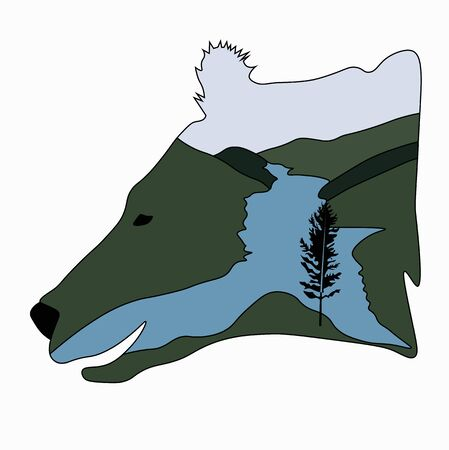 Vector stock illustration of a bear. The head of the predator. Forest river journey. Template for t-shirt sticker. for environmental protection. Expedition Snarling face. A wild beast