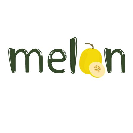 Word melon design decorated with melon fruits. Vector stock illustration of the word cantaloupe for typography. A sign for a firm of fruit and food stores. lettering. Dessert