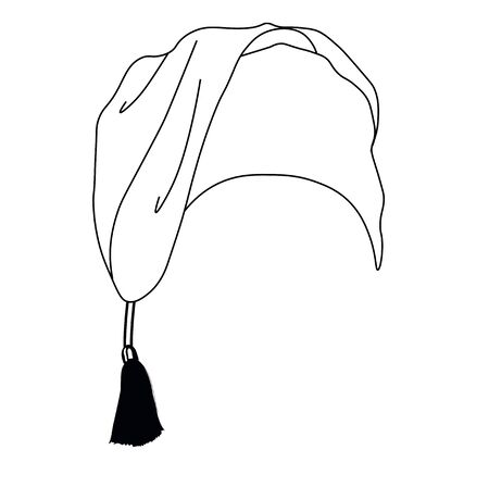 Vector stock illustration of a nightcap. The headdress is made in Doodle style. A simple freehand drawing. Isolated on a white background. Insomnia. Clothing for sleeping. Midnight