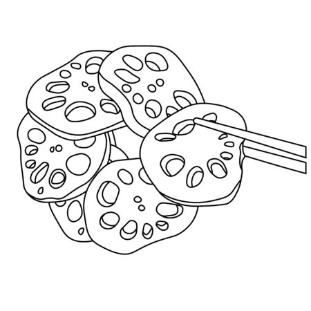 Vector stock illustration of a Lotus root. In a simple Doodle style. The Food Of Asia. Korean, Japanese cuisine. Menu Isolated on a white background. Monochrome. Coloring book.