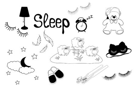 Vector stock illustration of the good night set. Doodle style, simple drawing of sheep, lambs, cloud, moon, sleep mask, lamp, Slippers, stuffed toy, toothbrush, alarm clock, zzz. Stickers isolated