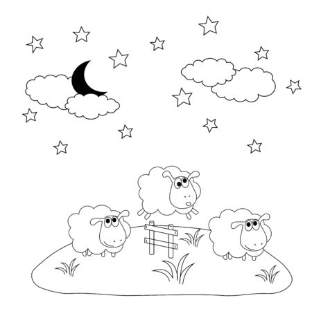 Vector stock illustration of children's coloring book. Three funny funny cute sheep jump over the fence. Sheep walk in the meadow. Insomnia symbol. Night, fairy tale. Simple line. Monochrome. Isolated