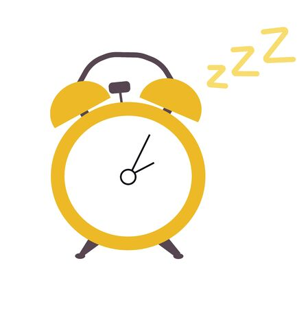 Vector stock illustration of a yellow alarm clock. Time Table clock with hands. Night time 14: 05. Isolated on a white background. Plain  イラスト・ベクター素材