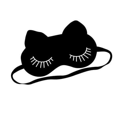 Vector stock illustration of a sleep Mask. Funny funny cute face of a cat. Doodle Insomnia symbol. Night, fairy tale. Simple line. Monochrome. bandage on the head. Isolated on a white background  イラスト・ベクター素材