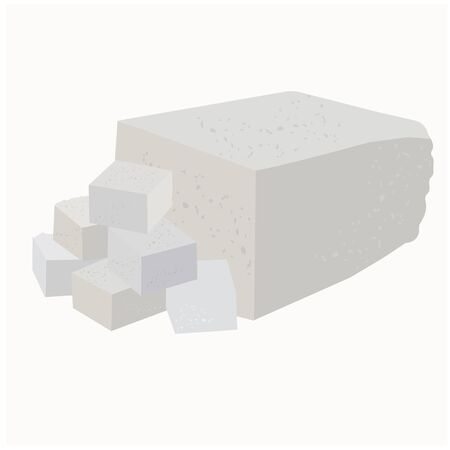 Vector stock illustration close-up of soft soy tofu cheese cut into cubes, cheese, cottage cheese, feta cheese. Isolated on a white background. Greek Asian Chinese Turkish vegetarian cooking Non-dairy  イラスト・ベクター素材
