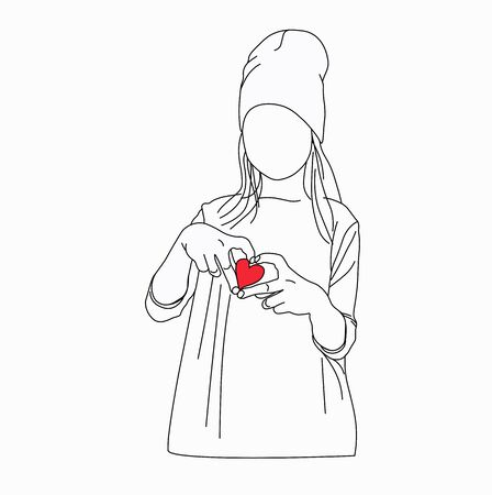 Vector stock illustration of a girl. Monochrome silhouette of a girl in love. Declaration of love. Tin hands heart. line drawing silhouette. For postcards, print on t-shirts, posters, and Valentines.