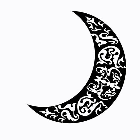 Vector stock illustration of a Crescent for plotter cutting Isolated on a white background. Arabic ornament in the month. Growing moon. Greeting card for Ramadan. Sickle Flat design style. Night
