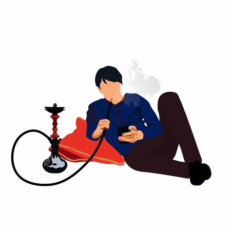 Vector stock illustration of hookah and hookah smoker in Douma lying on pillows. A man smokes lying in gute Pfeife and lets rings of fragrant smoke. For clubs Hookah night Night Hookah Design Template  イラスト・ベクター素材