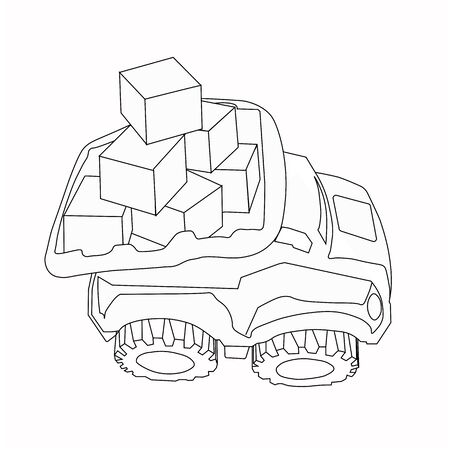 Vector outline stock illustration.Coloring Page. truck machine coloring book.Textile kids print on t shirt.One line tattoo, sticker.Antistress freehand sketch drawing for adult, kids. Outline.For kids