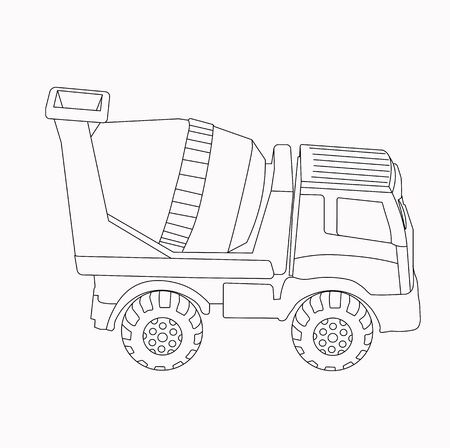 Vector outline stock illustration.Coloring Page. truck machine coloring book.concrete mixer. Antistress freehand sketch drawing for adult, kids. Outline.For kids. Educational game for little ones.