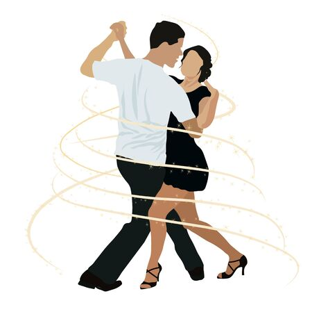 Vector stock illustration of Brazilian dancing. Ballroom dancing competitions. A couple of dancers dance Rumba, salsa, bachata. Men and women on swing, jazz, lindy hop or boogie woogie party.