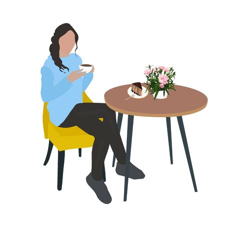 Vector stock illustration of a cozy coffee shop. A girl with a mug of fragrant latte coffee is sitting at a table in a restaurant. There is a cake on the table and spring carnation flowers in a vase.