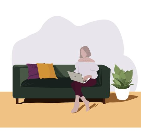 Girl with laptop sitting on the couch. Freelance or studying concept. Vector stock illustration of freelance work at home. A full-time. Self-isolation. Work from the comfort of home.  イラスト・ベクター素材
