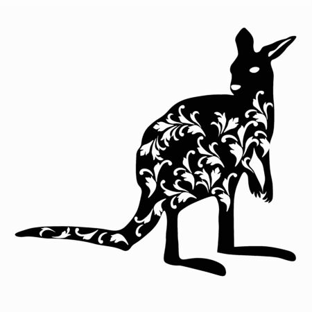 Vector stock illustration of a kangaroo. Detailed silhouette of a marsupial mammal of Australia. Monochrome pattern of a jumping kangaroo isolated on a white background  イラスト・ベクター素材