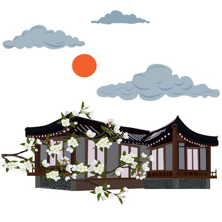 Japanese pagoda, in the garden. Cherry blossom branch. Vector stock illustration of a Chinese house. Cherry blossoms. Apple tree. House in traditional Asian architecture. Rural one-story Korean house. Ilustração