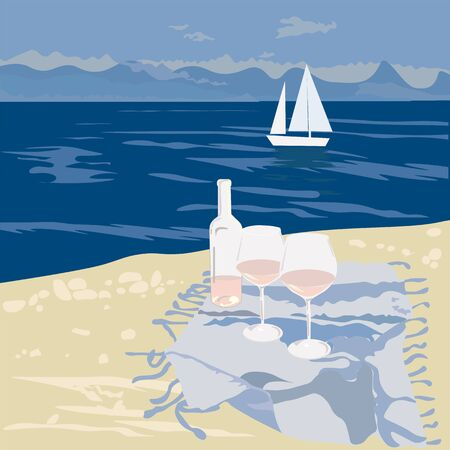 Sandy beach, summer day. Blanket on the beach. Romantic walk on the sea coast. Waves, sand, yacht, lovers' glasses of rose wine. Marine, summer and travel concept. Wedding trip to the blue ocean.  イラスト・ベクター素材
