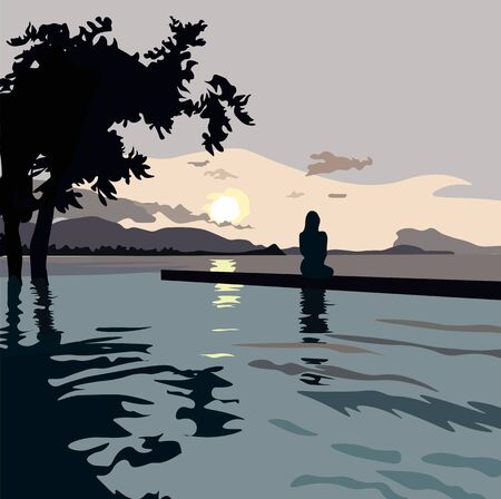 Vector stock illustration of the beach. Postcard about the journey of the travelers and the sea. At sunset, the silhouette of a girl is sitting looking into the distance over the horizon. Admires the  イラスト・ベクター素材