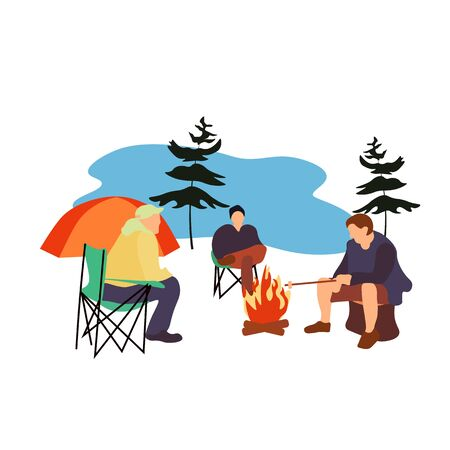 Vector stock illustration of a tent, campfire, tourists, outdoor recreation. Picnic in the woods by the lake. People are resting in the fresh air with an overnight stay. Camping Weekend trip. Camp.